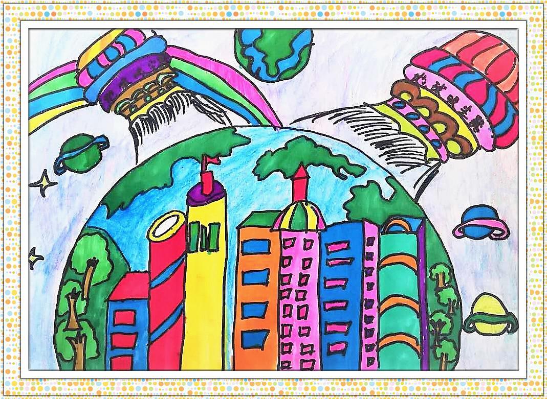 马克笔画《地球吸尘器》